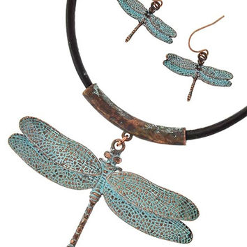 Boho Dragonfly Necklace Set