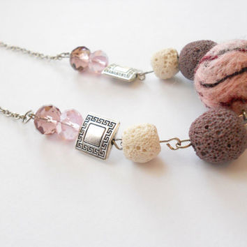 Felted beads necklace - Lovely necklace beaded necklace in gently pink white - Pastel jewelry