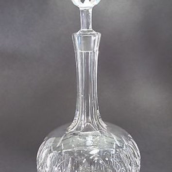 Signed Stuart Cut Glass decanter,  Antique facated stopper england