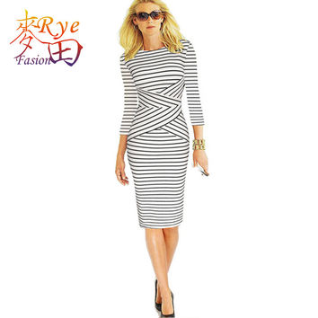 Women Dress Plus Size 6L Long Elegant Nautical Navy Stripe Wear to Work Business Office Career Bodycon Sheath Pencil Dress Green
