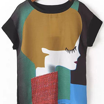 Abstract Girl Printed Blouse