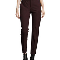 High-Waist Contrast-Piping Trousers, Size: