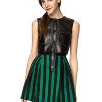 Irene Leather Striped Dress