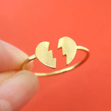 Unbreak My Heart | Broken Heart Shaped Adjustable Ring in Gold | DOTOLY