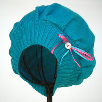 Girls Turquoise Edwardian Downton Abbey Inspired Tam or Cloche - Toddler 12 mo to 3 yr - Upcycle