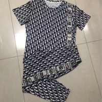 Dior Women Letter Print Short Sleeve Top Pants Two-Piece