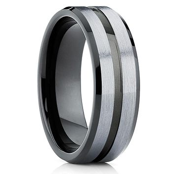 Gray Tungsten Wedding Band - Black Tungsten Ring - Men's Wedding Band