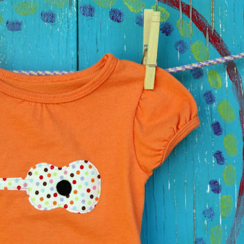 Girl's Guitar Appliqued Tshirt Orange Capsleeved 18 by OddEDesigns