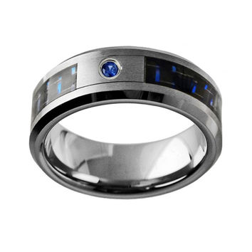 0.05ct Blue Sapphire in Carbon Fiber Inlay Tungsten Wedding Band Ring
