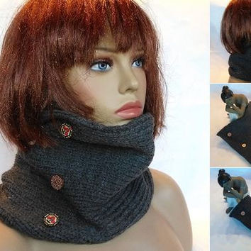 Scarf, neck gaiter, Gray scarf, scarf ring, cowl scarf, neck wrap, knit scarf, scarf, neck warmer, scarves, anthracite, grey
