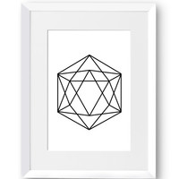 Hexagon, Line Art, Swedish, Home Decor, Contemporary, Modern art, Scandinavian Print, Printable art, Digital Print