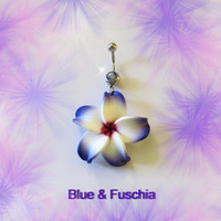 Belly Ring, Blue, Red, Or Purple Hawaiian Plumeria Flower, Belly button Navel Ring, Belly Button Jewelry For Women and Teens