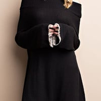 Sultry Off-Shoulder Tunic Dress with Bell Sleeve