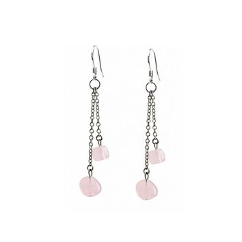 iSTONE 100% Natural Gemstone Rose Quartz Aventurine 925 Sterling Silver Drop Earring Fine Jewelry Lucky Beads Gift for Valentine