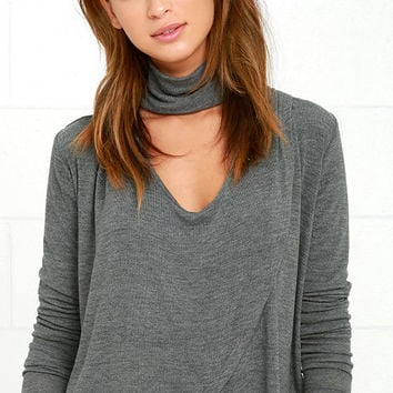 Soho Chic Dark Grey Long Sleeve Top