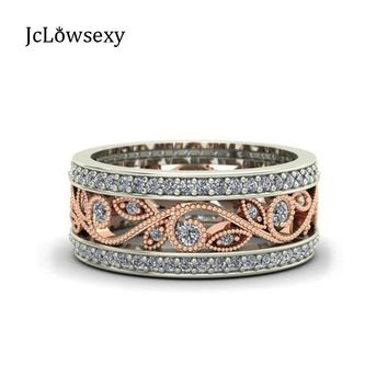 New 925 Silver Stackable Pan Ring Wheat Wave & Clear CZ Crystal Rings for Women Sterling Silver Jewelry Wedding Gift