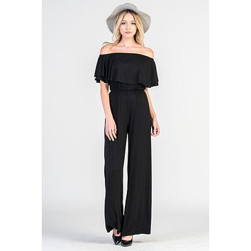 Off Shoulder Jumpsuit - Black