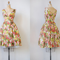 vintage 1950s dress / vintage 50s dress / vintage floral 1950s party formal dress