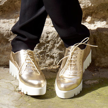 """NEW Collection SS/15 Golden Sneakers All Genuine Leather  / Casual  Extravagant """"Must Have"""" All seasons sneakers by Aakasha A15217"""