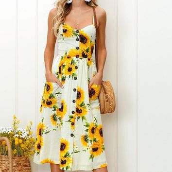 2018 spring and summer new printing harness long dress