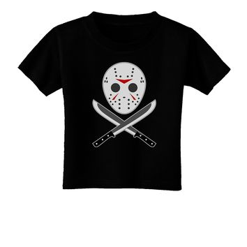 Scary Mask With Machete - Halloween Toddler T-Shirt Dark