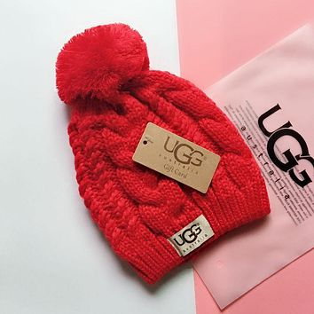 """UGG"" Fashionable Lover Chic Knit Hat Warm Cap Red"