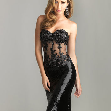 Black Bead Lace & Sequin Sheer Strapless Prom Dress - Unique Vintage - Cocktail, Pinup, Holiday & Prom Dresses.