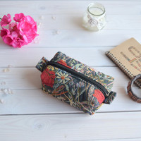 Poppies box pouch zippered, Boxy pouch, Cosmetic pouch, Make Up Pouch, Toiletery bag, Project bag, Charger bag, Pencil box pouch, Travel bag