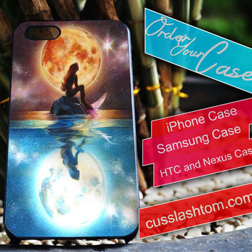 Exclusive Ariel and Moon iPhone for 4 5 5c 6 Plus Case, Samsung Galaxy for S3 S4 S5 Note 3 4 Case, iPod for 4 5 Case, HtC One M7 M8