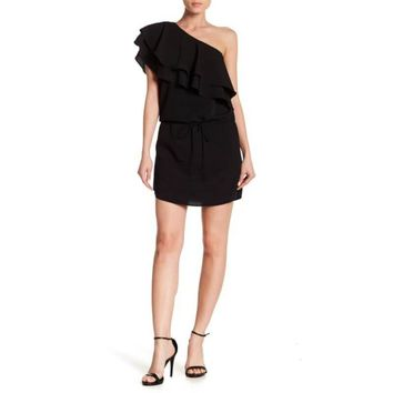 Haute Hippie Black One Shoulder Layered Ruffle Popover Dress, Size XS