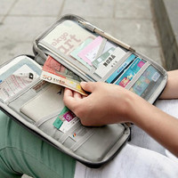Family Travel Clutch Multifunctional Storage Clutch Bag Card Ticket Passport  Holder Wallet Organizer with Zipper