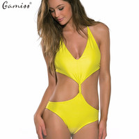 Gamiss Hot Sales Sexy Cut Out Deep V Bodysuit One Piece Swimsuit Female Backless Swimwear Halter Beachwear Monokini Bathing Suit