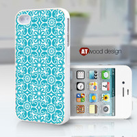 phone 4s case iphone 4 case iphone 4s case iphone 4 cover blue flower graphic design printing