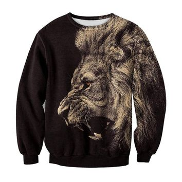 Ninimour- Animal Patterns Print Pullover Sweatshirt Sweaters (S, lion)