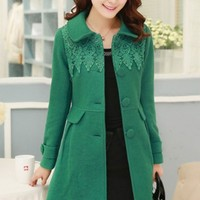 Cute Lace-Trim Woolen Coat - OASAP.com