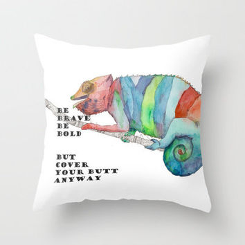 Brave Chameleon Throw Pillow by Catherine Holcombe | Society6