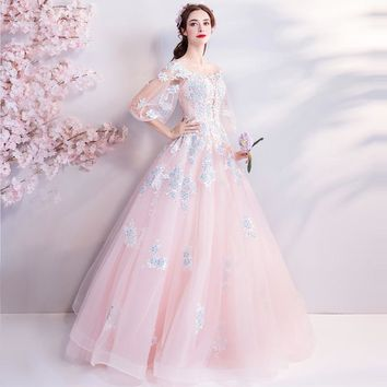 Pink Evening Dresses O-neck Three Quarter Sleeves Embroidery Bling Floral Floor-length Party Ball Gown