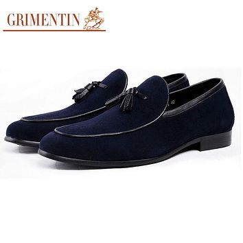 Mens Loafers Shoes Blue Fashion Business Male Casual Suede Leather Shoes For Men