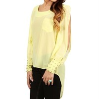 Yellow Sheer Studded Cuff Top