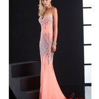 Jasz Couture 2014 Prom Dresses - Coral Beaded Strapless Sweetheart Gown