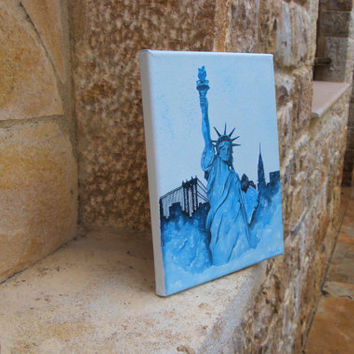 STATUE OF LIBERTY painting 10x8in Oil painting New york  America Canvas Wall hangings decor Gift ideas Art City New York skyline Liberty art