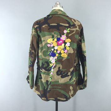 Embroidered Army Camouflage Jacket / Military Style Coat / Olive Drab Army Green Camo / Floral Embroidery / Women's Military Jacket / L XL