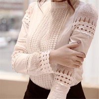 Women blouses 2016 spring summer long sleeve shirt women white lace blouse tops camisas femininas woman clothes crochet ladies