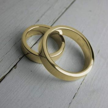14K yellow gold wedding bands handmade & by MetalPressions on Etsy