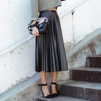 Winter Black Leather Knife Pleated Maxi Skirts
