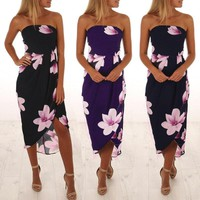 US Womens Maxi Boho Floral Summer Beach Long Skirt Evening Cocktail Party Dress