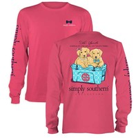 Simply Southern Preppy Collection Girls in Pearls Long Sleeve Tee in Strawberry LS-PRPGIRLS-STRWBRRY
