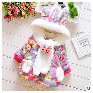 winter baby clothing cotton long-sleeved hooded windbreaker jacket plus thick wool scarves for children girls Free Shipping