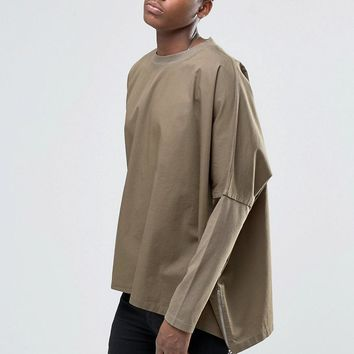 ASOS | ASOS Oversize Longline Woven Poncho With Funnel Neck at ASOS