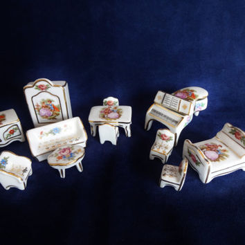 Vintage French Dollhouse Miniatures - Limoges Porcelain Furniture - Piano, Bed, Sofa, Armoire, Chairs